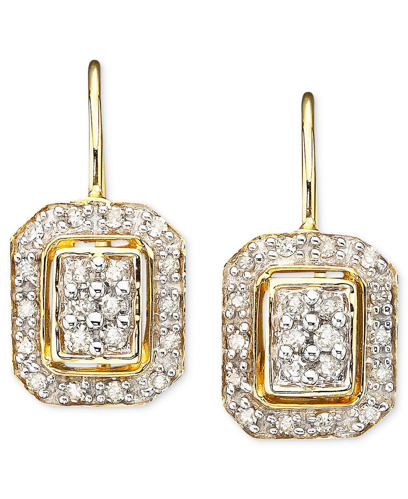 c08662de5 Square Diamond Earrings in 14k Gold (1/4 ct. t.w.) - Earrings - Jewelry &  Watches - Macy's