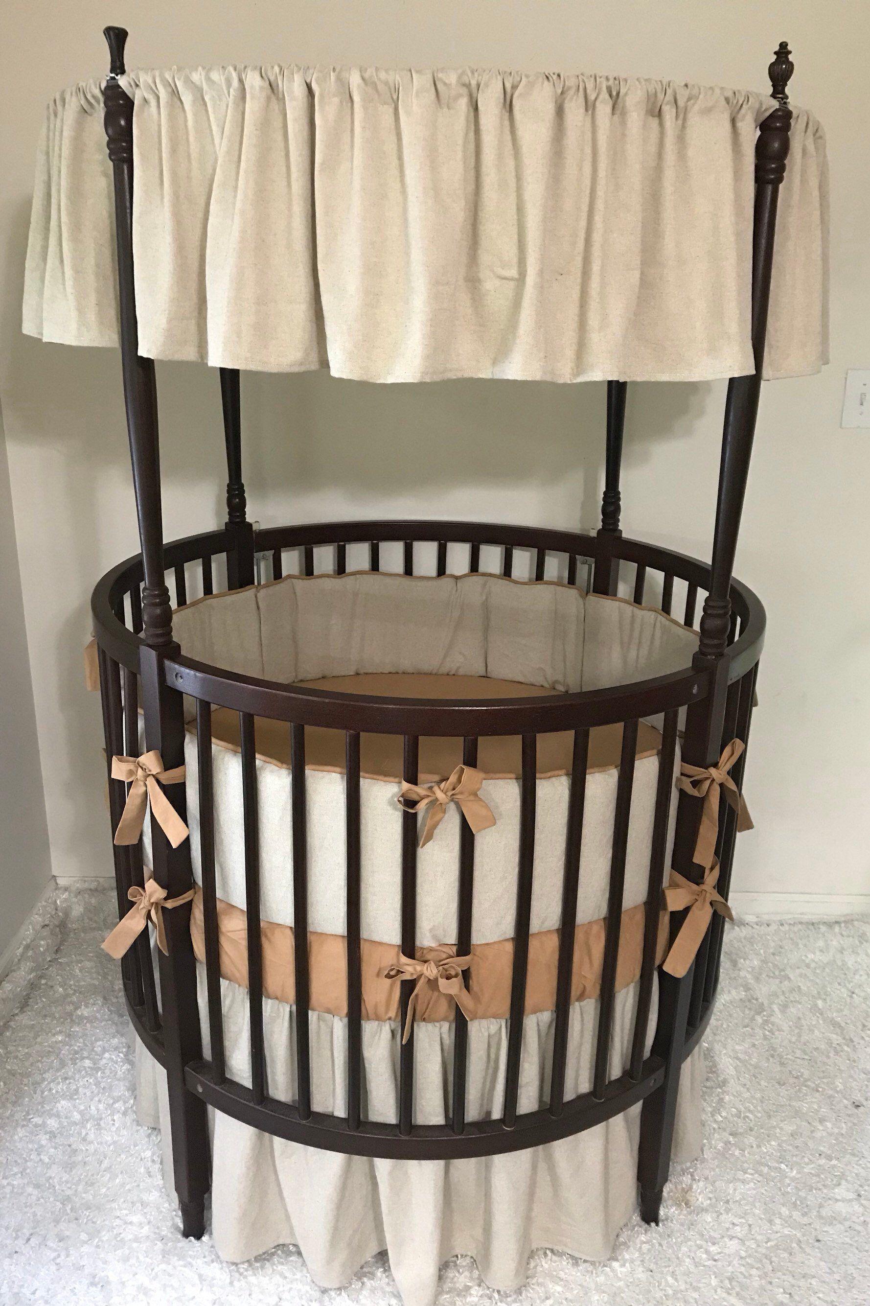 Baby Bedding Round Crib Set Linen Coffee Caramel Nutmeg Ships Fast
