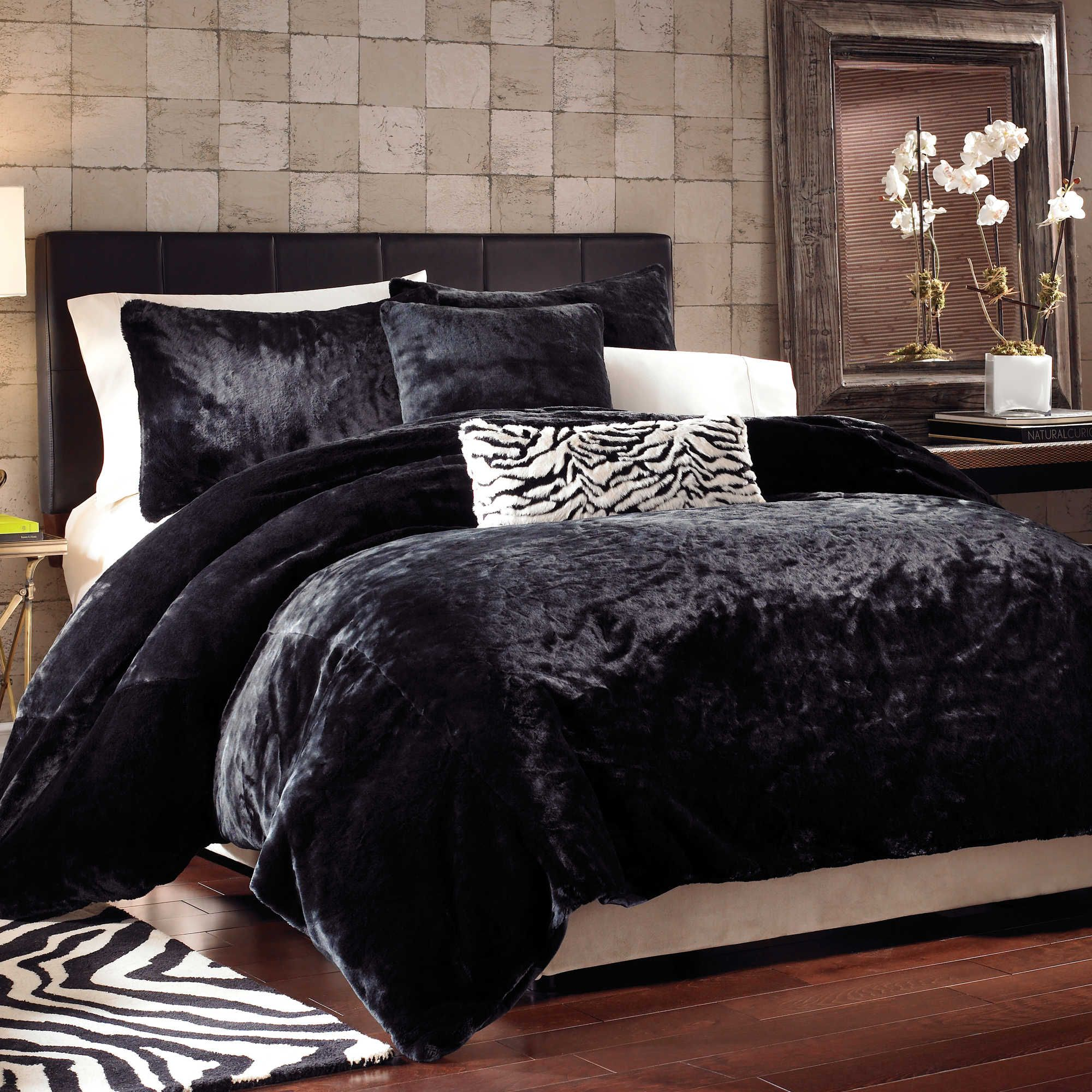 Black Panther Faux Fur Duvet Cover Schwarzer Panther Fellimitat Bettbezug Duvet Cover Sets Home Queen Bedding Sets