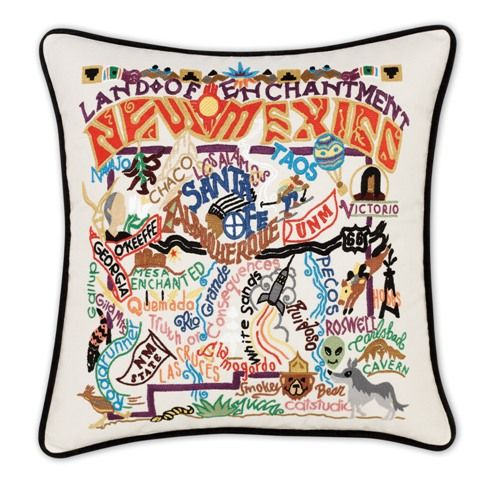 Hand Embroidered CatStudio New Mexico State Pillow