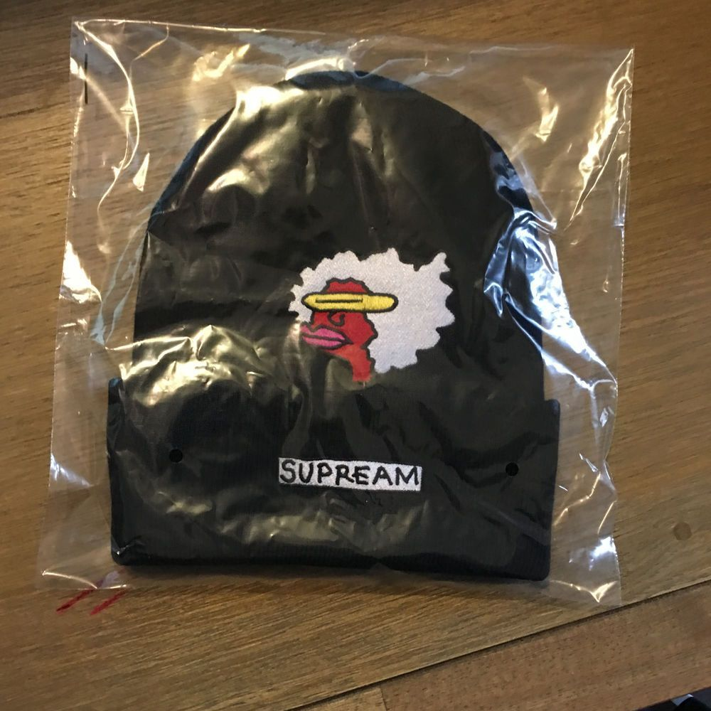 f242775ba9a (eBay link) Supreme FW17 Gonz Ramm Beanie BLACK New Era Box Logo S Logo  Camp Cap Hat  fashion  clothing  shoes  accessories  mensaccessories  hats