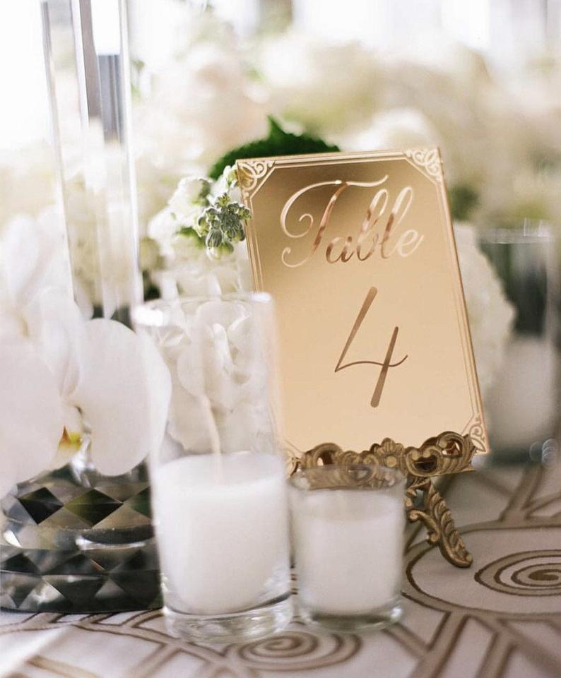 Mirrored Gold Acrylic Table NumberWedding DecorParty | Etsy