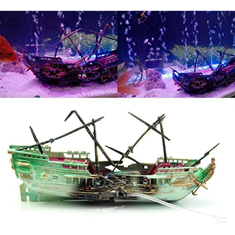 Aquarium Ornament Wreck Boat Sunk Ship Air Split Shipwreck Fish