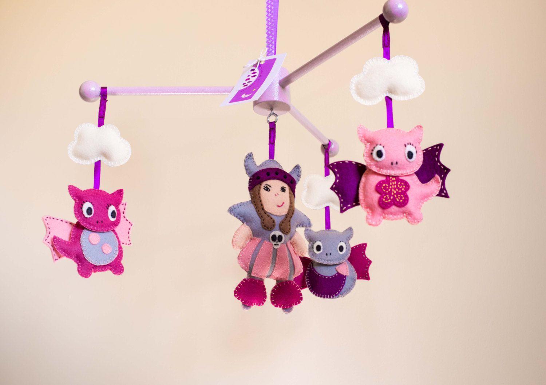 Erin The Brave (Viking Girl) & Dragons Baby Cot Mobile by MorrowlandCreations on Etsy #BabyMobile #Nurserydecor