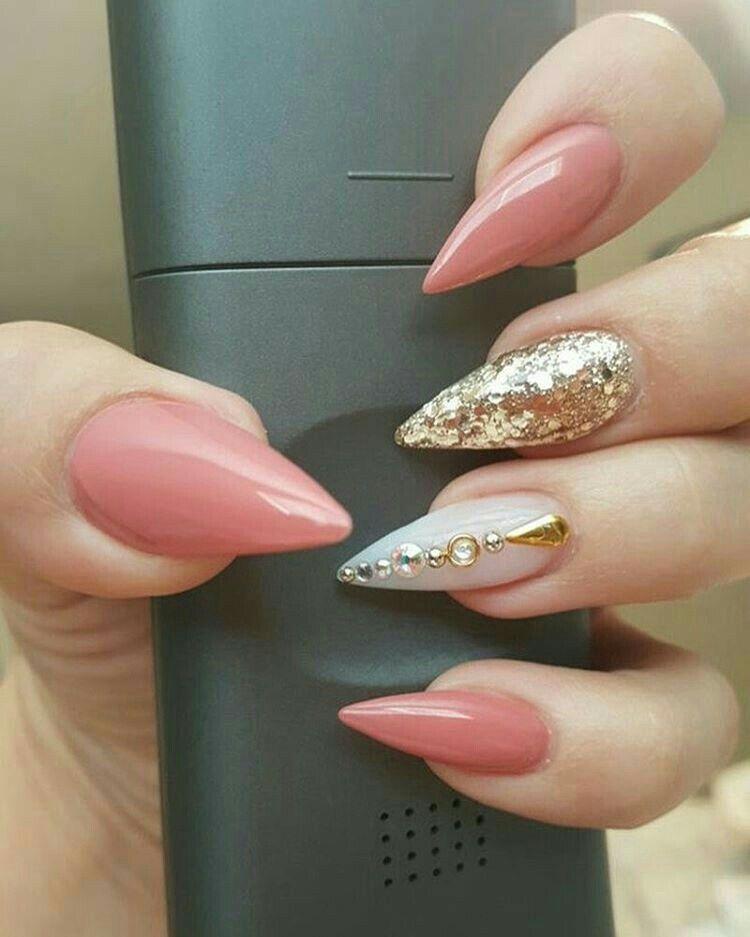 Lovely Almond Rhinestone Glitters Nail Ideas Design