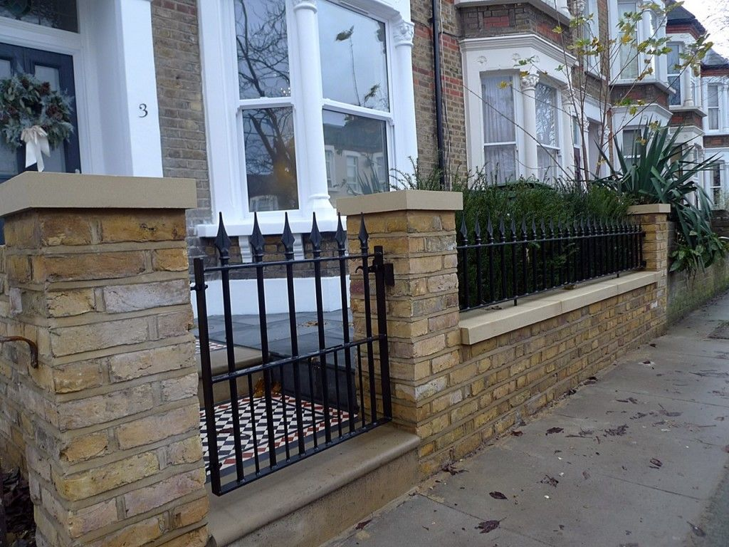 Attirant York Stone Entrance Brick Garden Wall Metal Rail Gate London Dulwich Peckham