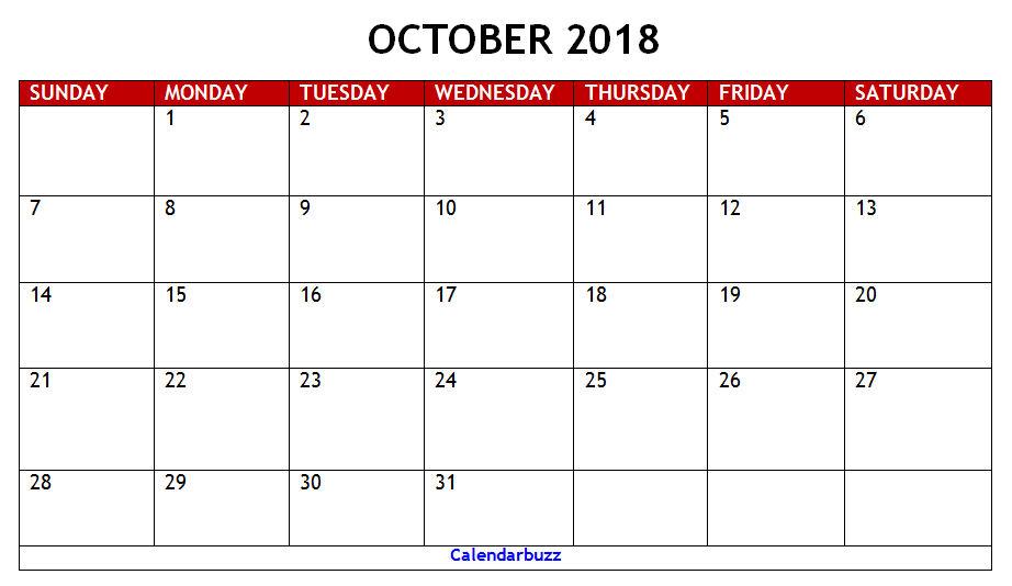 oct 2018 calendar printable