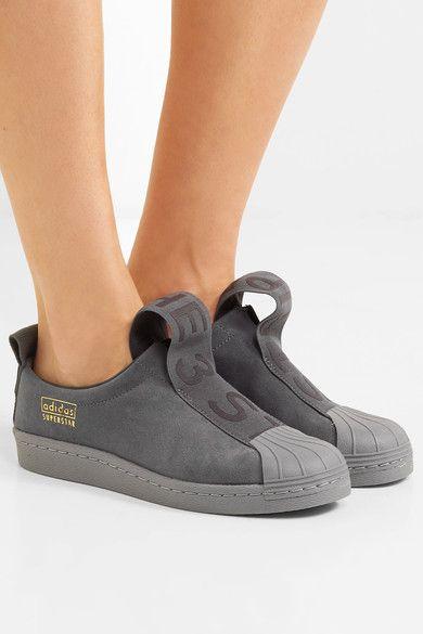 adidas superstar slip on grey suede