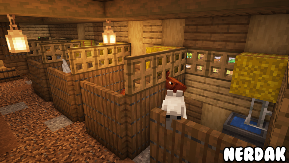 """Simple Horse Stalls to add to your barn Minecraft Make a Beautiful Farm"""" video link in ments"""