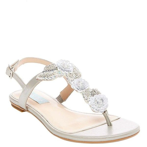 Betsey Johnson SB-Camil ($99) ❤ liked on Polyvore featuring shoes, sandals, silver, embellished sandals, silver t strap sandals, silver flat shoes, silver sequin flats and flat sandals