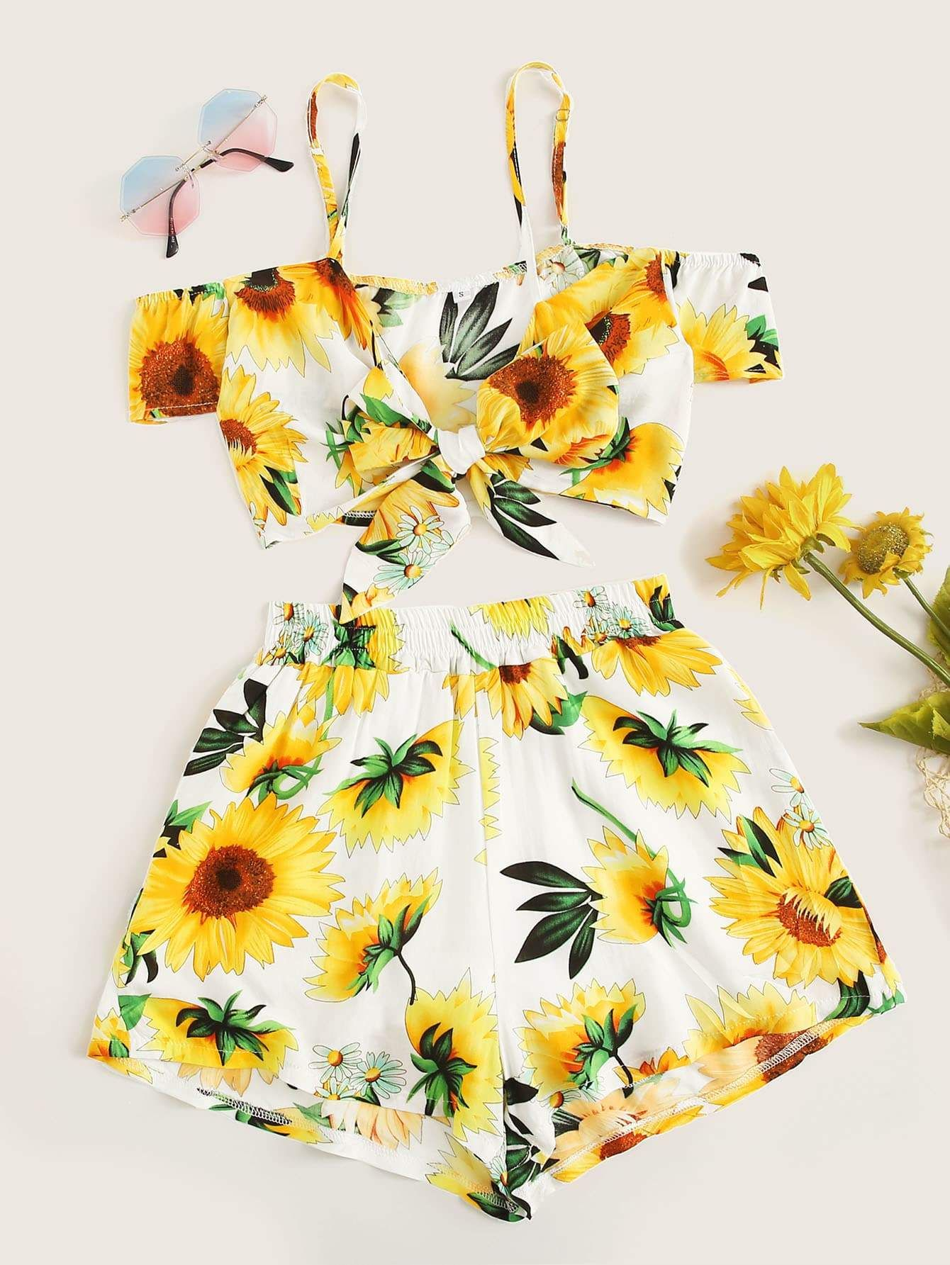 8d3d020a005e5 Sunflower Print Knot Front Cami Top With Shorts - Popviva #summer #year  #fall #spring #season #winter #daylight #summertime #vacations #holiday  #autumn ...