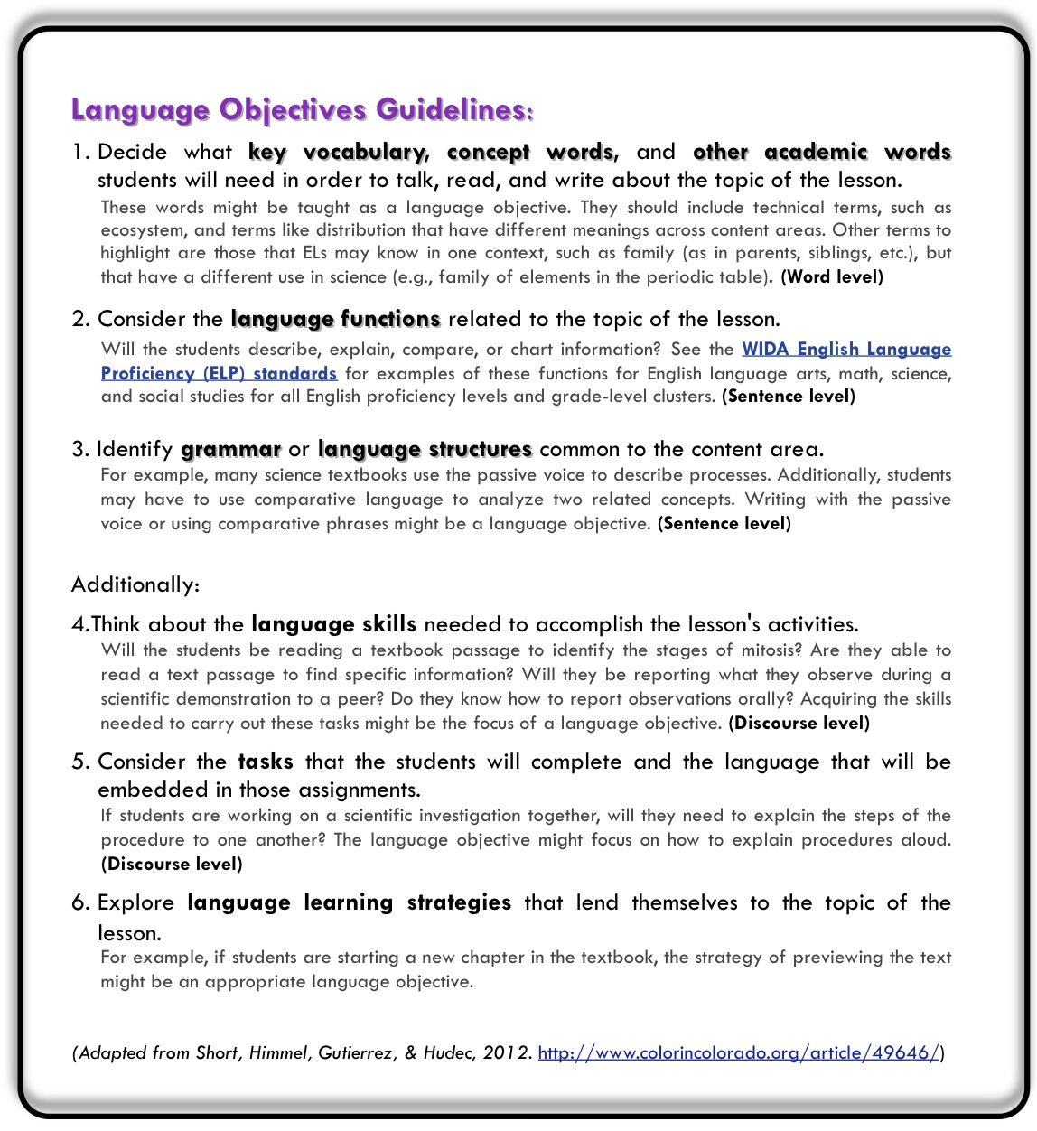 content and language objectives verbs list