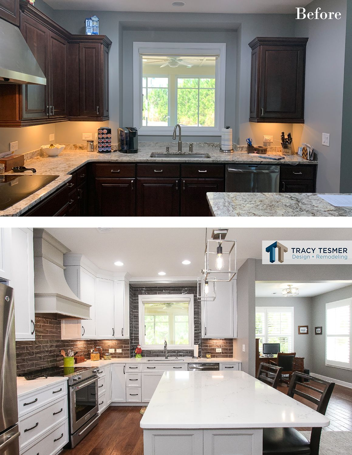 Dark To Light Kitchen Cabinetry Update Before And After Kitchen Remodel Cost Contemporary Kitchen Design Kitchen Remodel