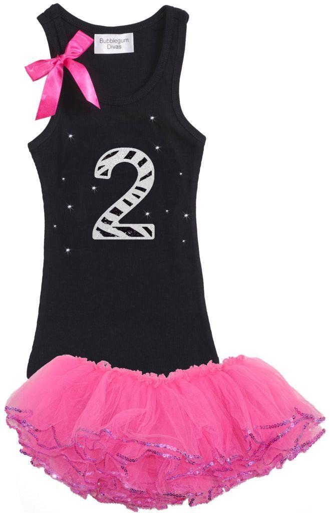 2e1985007f Bubblegum Divas Little Girls  2nd Birthday Zebra Pink Tutu Outfit 2T.  Birthday Girl Shirt