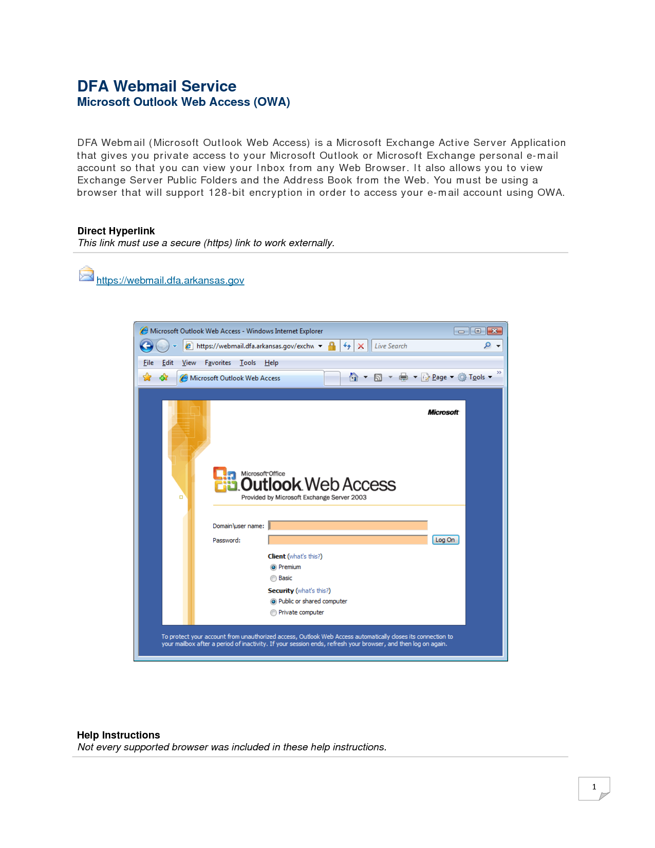 Dfa Webmail Service Microsoft Outlook Web Access Owa Short Course On