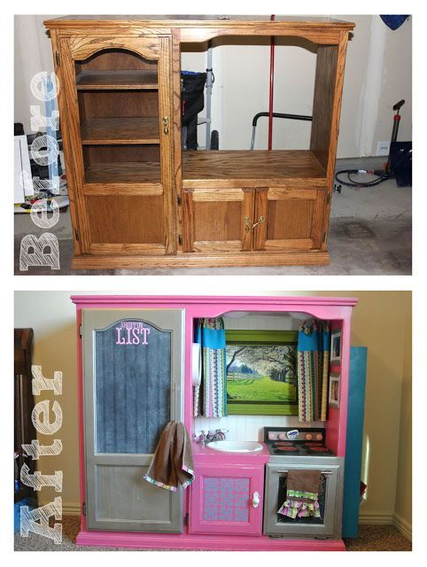 Entertainment Center Turned Play Kitchen   made it ...