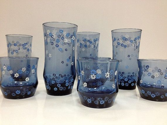 Vintage Libbey Drinking Glasses Blue And White Daisy Flower Tumblers Vintage Drinking Glasses Libbey Drinking Glasses