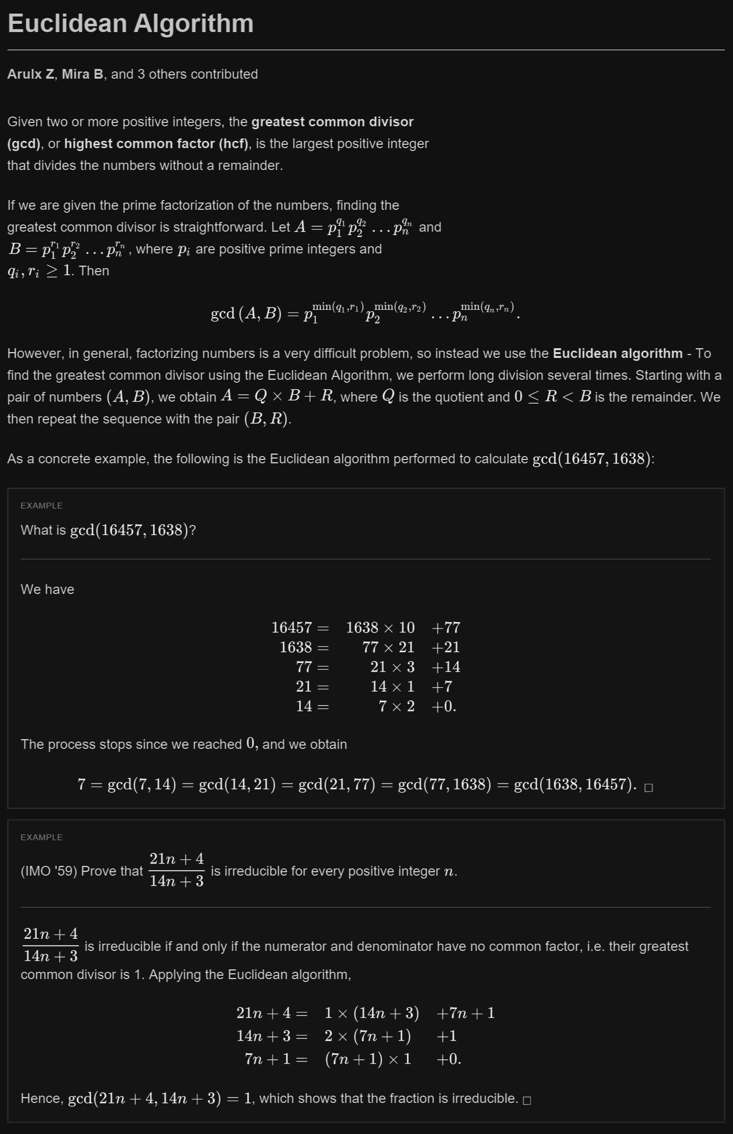 Euclidean Algorithm Discrete Mathematics Math Tutorials Mathematics Worksheets
