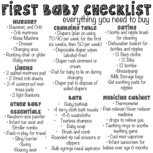10 Big Pregnancy Decisions and How to Tackle Them Baby checklist - sample newborn checklist