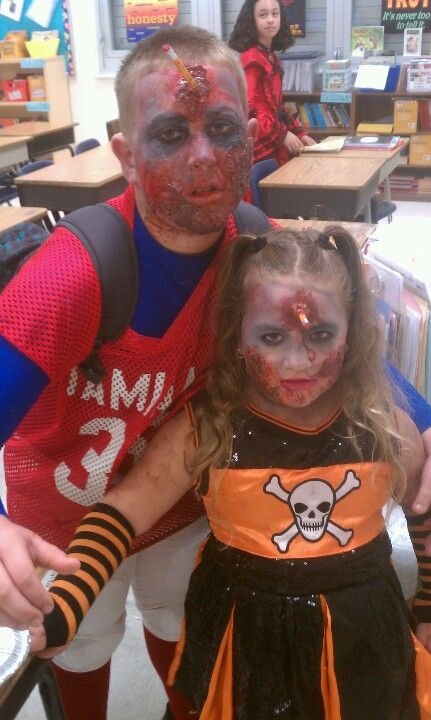 Zombie football player u0026 cheerleader my crazy kids.  sc 1 st  Pinterest & Zombie football player u0026 cheerleader my crazy kids. | Fear factor ...