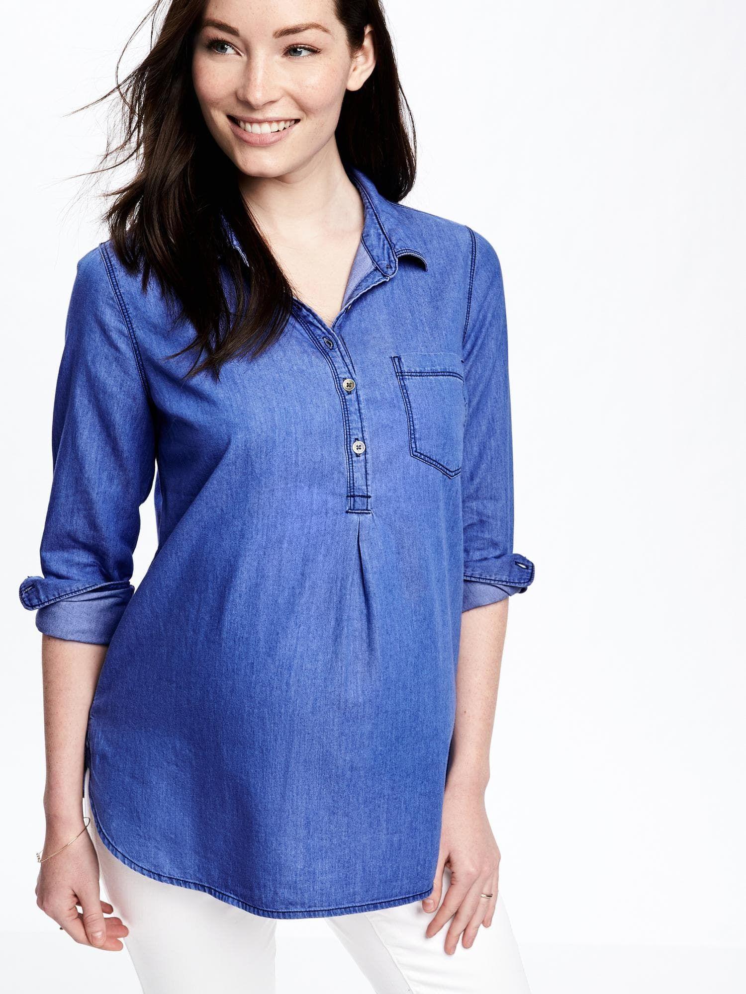 57424718329 Chambray Maternity Shirt