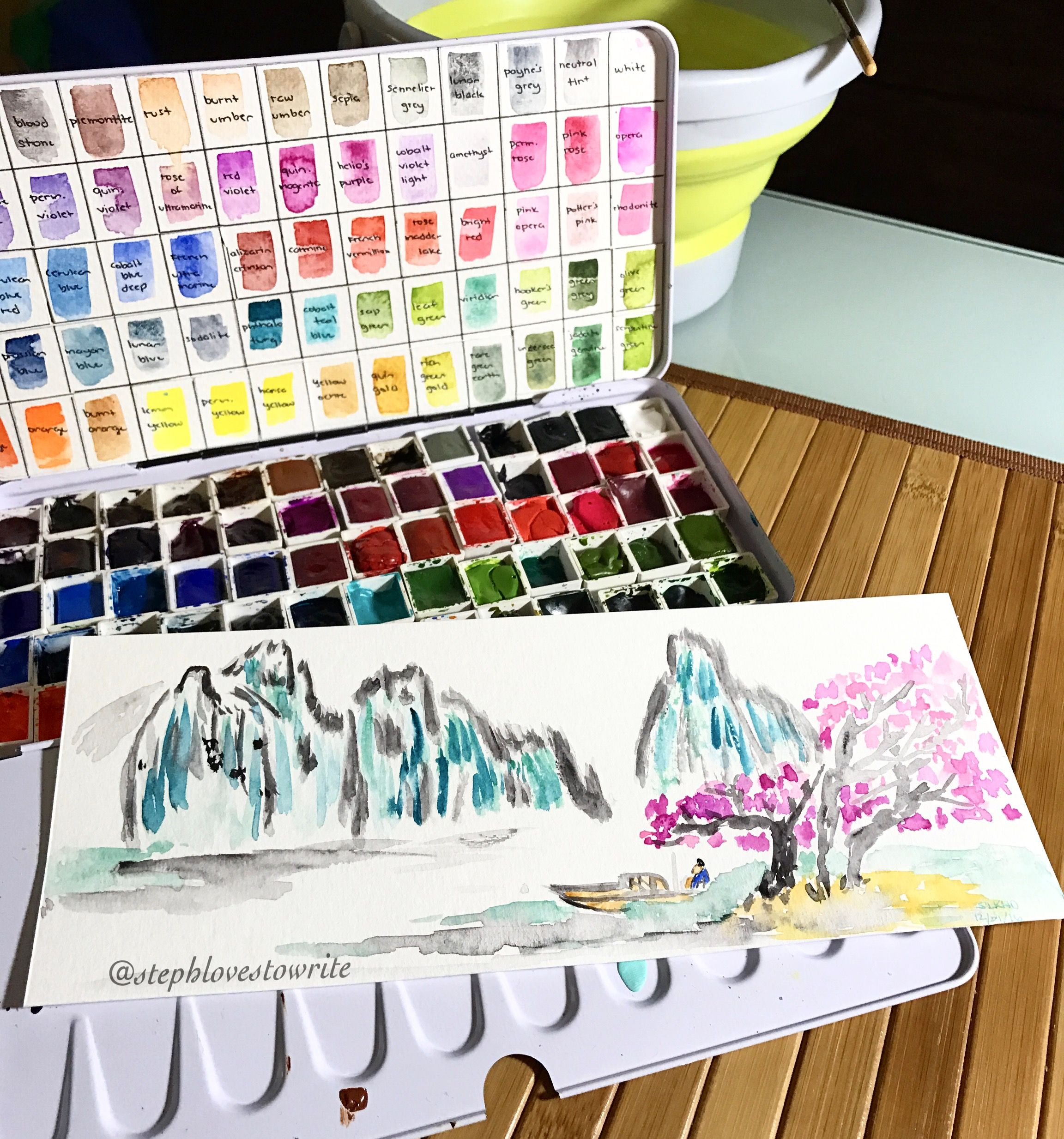 Chinese Painting Art Watercolor Painting Scenery Color
