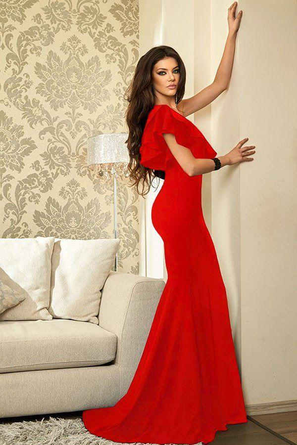 bd077c5005c Red Ruffle One Shoulder Elegant Mermaid Evening Dress MB61630-3 –  ModeShe.com