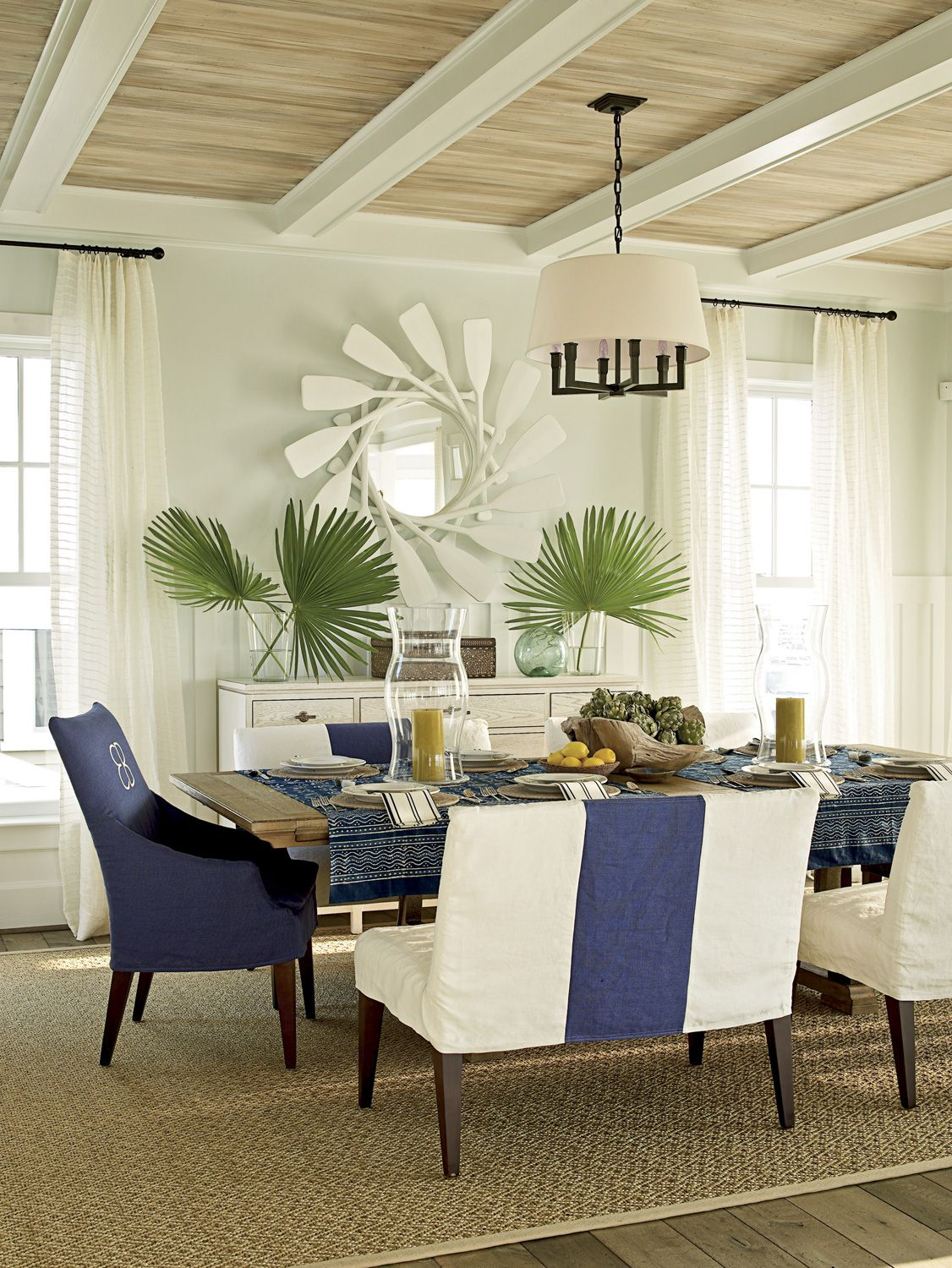 Soft Blue Paint Wall And Cream Wood Ceiling Beach Cottage