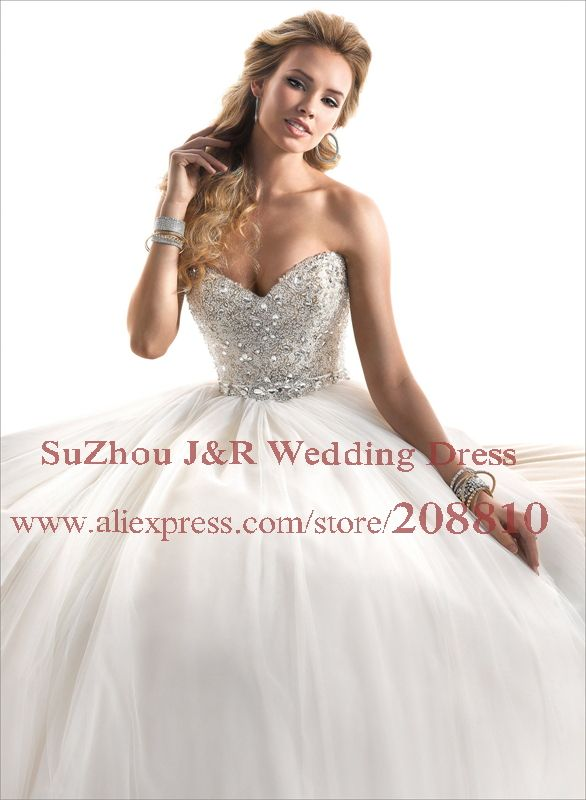 Free Shipping Strapless Sweetheart Fully Crystal Beaded Fairytale Tulle Wedding Dress Puffy Bridal Ball Gown Esme