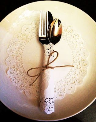 Paper doily and twine silverware wrap...could also add tag with name making this a place 'card'