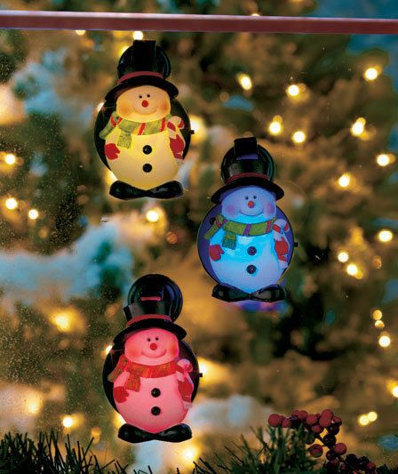 SET OF 3 LED SNOWMAN WINDOW FUN FOR CHRISTMAS! COLOR CHANGING! CERAMIC! #Unbranded