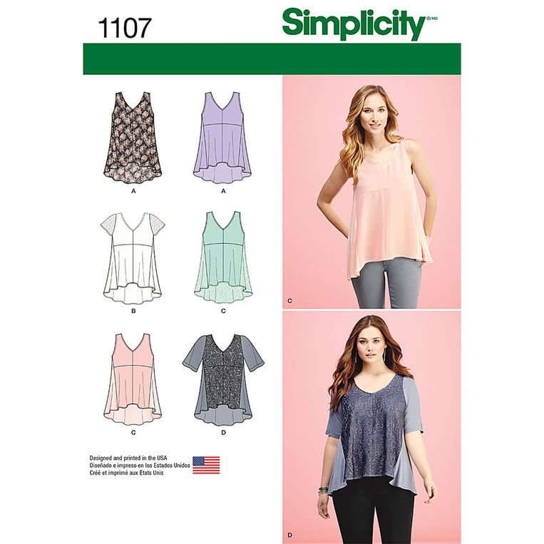 Simplicity Misses\' Tops with Fabric Variations - Size: A (XXS-XS ...