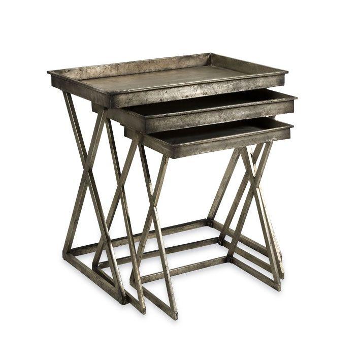 Silver Empire Tray Tables U2013 Set Of 3 | Dotandbo.com
