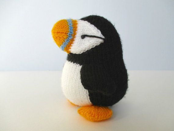 Huffin' Puffin toy knitting pattern by fluffandfuzz on Etsy