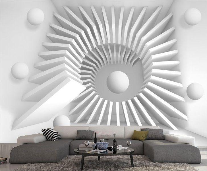 Papier Peint Intisse Trompe L Oeil Photo Murale Relief 3d Blanc