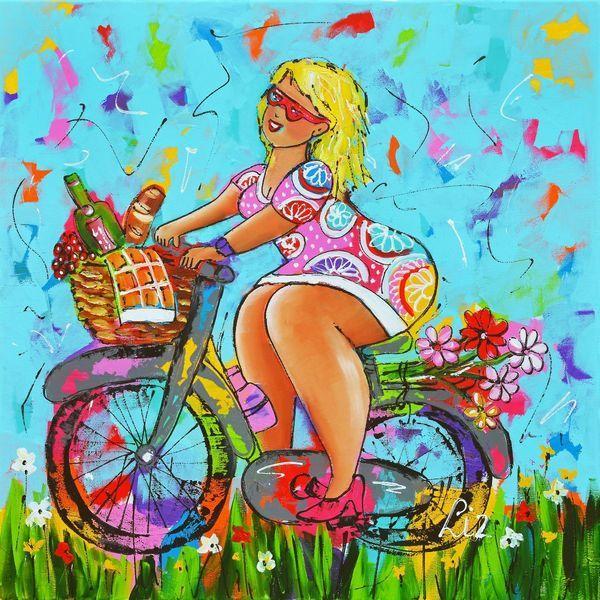 Hedendaags Dame op de fiets in 2019 | FAT LADIES - Diy schilderij, Fiets KD-25