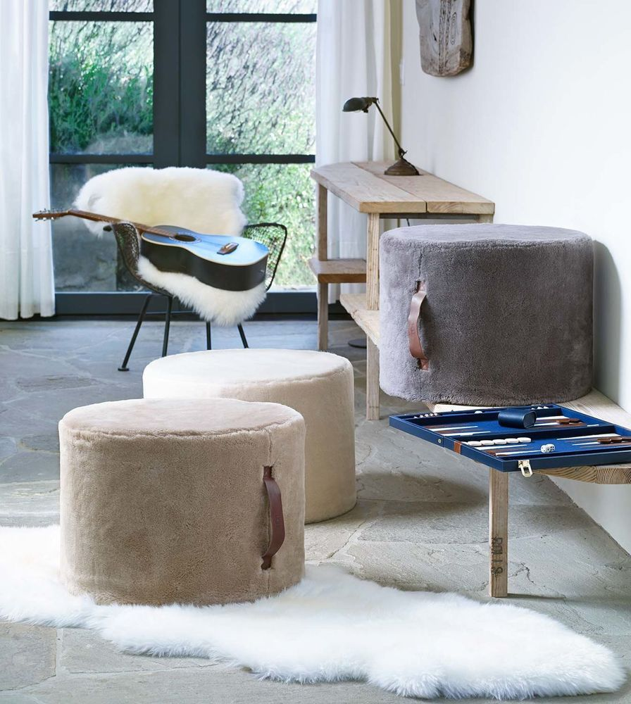 Ugg New Oversized Classic Wool Pouf 16x21 Ottoman Natural Grey Gray Or Sand 350 Home Collections Floor Pouf Furniture