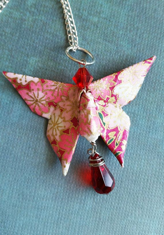 Origami Butterfly Necklace Red Floral with Swarovski Crystal Handmade Paper Jewelry