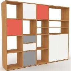 Photo of Wohnwand Eiche – Individuelle Designer-Regalwand: Schubladen in Weiß & Türen in Weiß – Hochwertige M