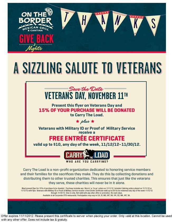 on the border coupon veterans get a free entree certificate