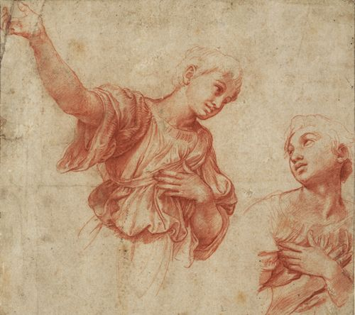 Study for two angels 1517 18 raphael master of italian - Raphael dessin ...