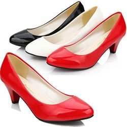 Cheapest Low Kitten Heels Women Wedding Pumps Shoes Casual Patent Leather High Heels Black White Red Color Shp41033 Wedding Shoes Low Heel Prom Heels Heels