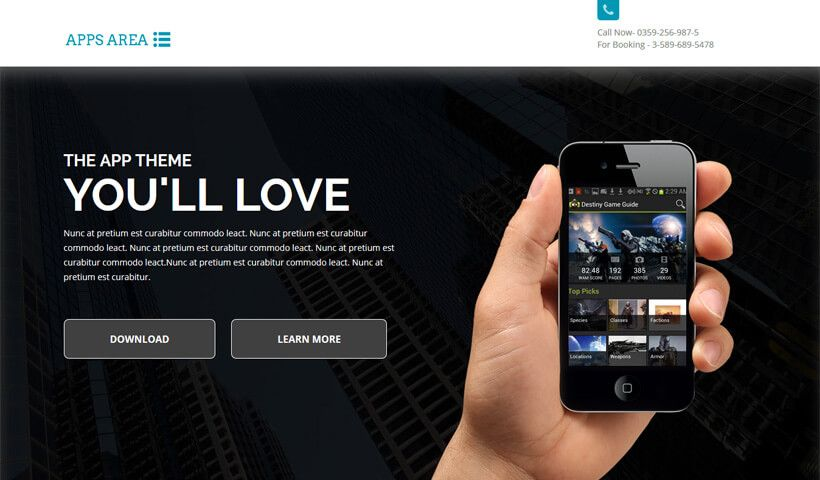 Apparea Best Landing Page Template For iOS, Android