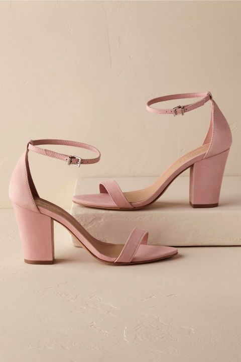 Pink strappy heels, Pink wedding shoes