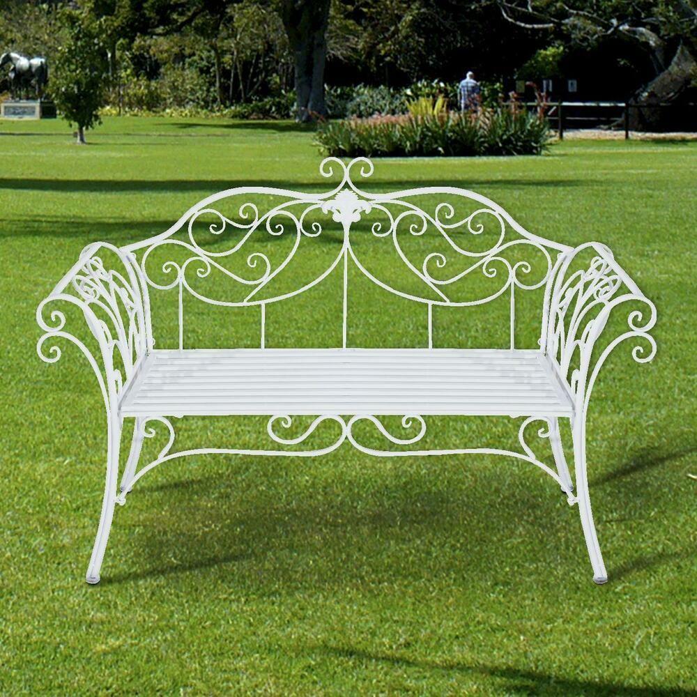 Outdoor Garden Bench-White Metal Steel Patio Bench Seat 2 ...