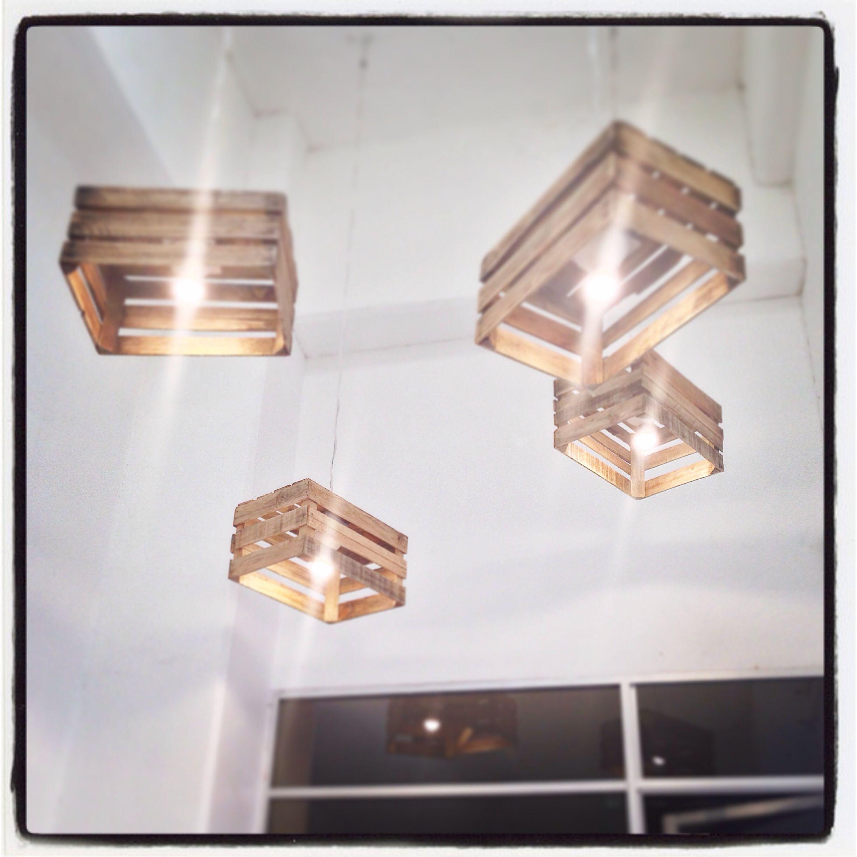 Lamparas leds cajas de madera lamparas pinterest - Lamparas de madera ...