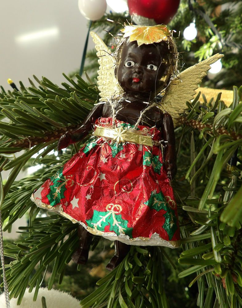 Vintage Christmas Tree Fairy Little Black Baby Doll Hard Plastic