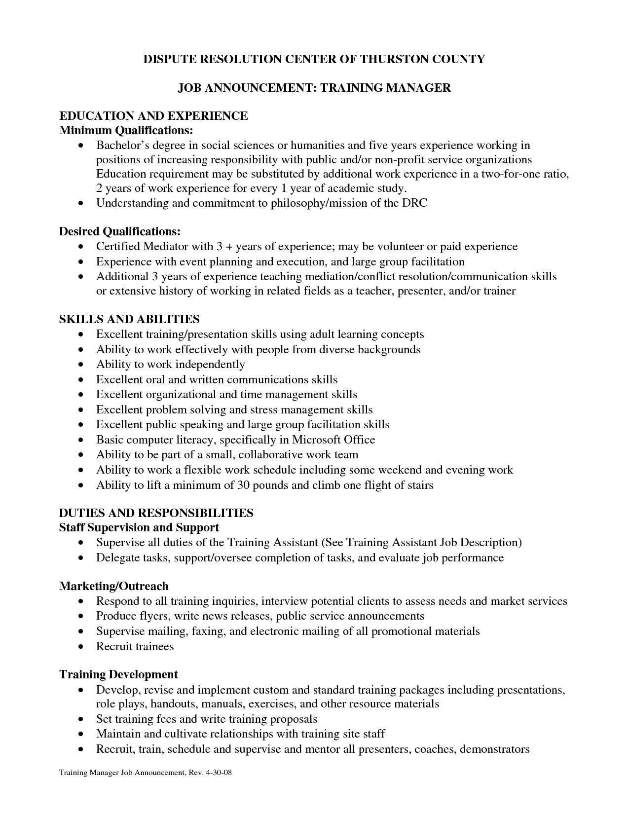 training coordinator resume cover letter training