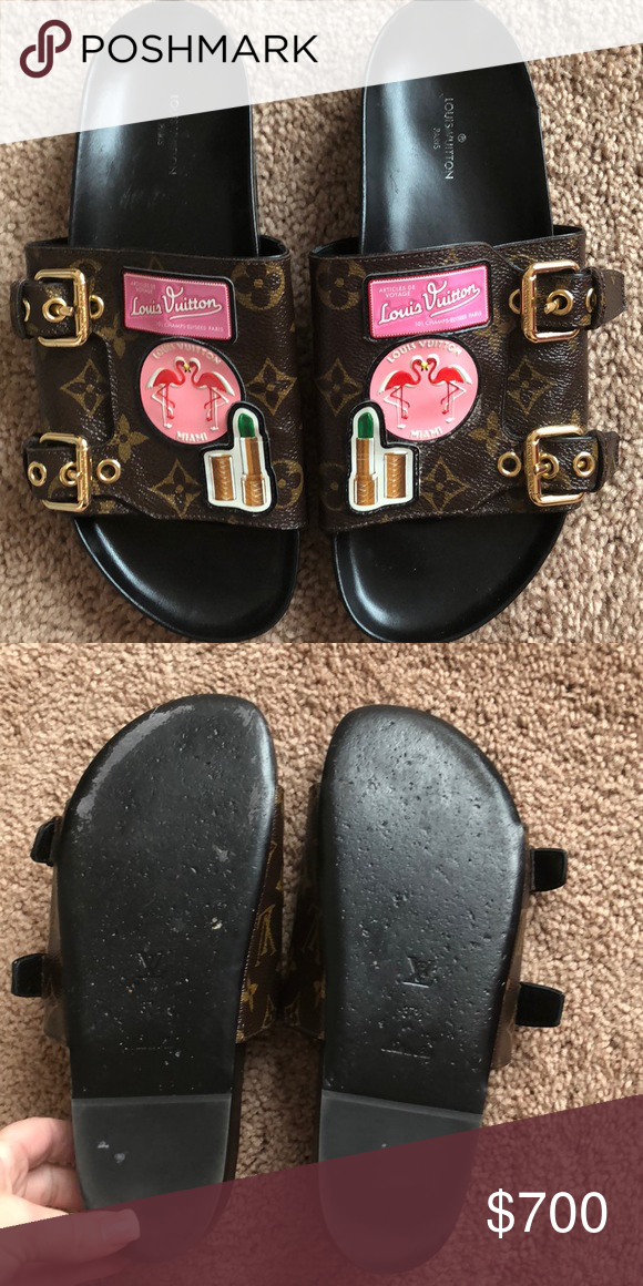 cc3c3247745b Louis Vuitton sandals Yous Vuitton Slides for the few times discontinued  hard to find size 37 1 2 has patches on the front with the gold buckles in  good ...