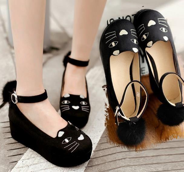 フォーマル靴(女子レディース)フォーマルシューズ ゴスロリ ロリータ 結婚式 卒業式 入学式 shoes コスプレ猫黒 ラウンド ウェッジヒール  パンプス コスプレ靴